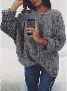 VERYVOGA Solid Chunky knit Polyester Round Neck Sweaters. #VERYVOGA #Solid #Chunkyknit #Polyester #RoundNeck #Sweaters