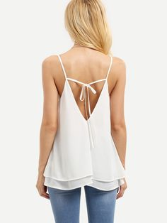 Online shopping for White Spaghetti Strap Tie Back Tank Top from a great selection of women's fashion clothing & more at MakeMeChic. White Fashion, Boho Fashion, Womens Fashion, Summer Wear For Women, Sexy Outfits, Fashion Outfits, Mode Boho, Style Casual, Bustier