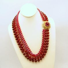 SELINI Signed Vintage 5 Multi Strand Red  Necklace / The beads have an Aurora Borealis finish and have the look of crystal, without the weight, making this necklace very comfortable to wear. The fancy hook clasp has matching beads and can be worn on the side, as pictured /135