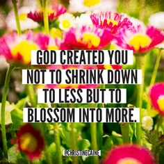 ::God created you not to shrink down to less but to blossom into more.::