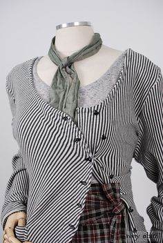 Limited Edition Gilbert Cardigan in Inkwell/Natural White Striped Knit. By Ivey Abitz.