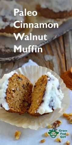 Low Carb Breakfast Muffins with Cinnamon, Walnuts and Tahini (Paleo, gluten free, dairy free, nut free) | http://www.grassfedgirl.com/low-carb-breakfast-muffins-cinnamon-walnuts-tahini-paleo-gluten-free-dairy-free/