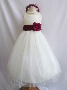 Flower Girl Dress IVORY w/ Burgundy RB2 Wedding by mykidstudio, $32.00