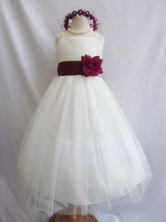 Flower Girl Dress IVORY w/ Burgundy RB2 Wedding by mykidstudio, $32.00