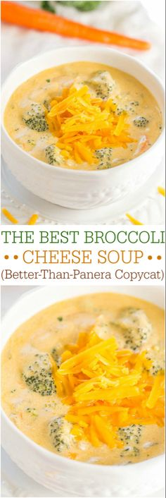 The Best Broccoli Cheese Soup (Better-Than-Panera Copycat) - Make the best soup of your life at home in 1 hour! Beyond words amazing! (healthy broccoli and cheese soup panera bread) Best Broccoli Cheese Soup, Cheddar Broccoli Soup Panera, Cheesy Broccoli Soup, Broccoli Soup Recipes, Broccoli Califlower Soup, Cream Of Broccoli Soup Recipe Panera, Cheese Soup Recipe Easy, Brocoli Soup, Cheddar Cheese Recipes