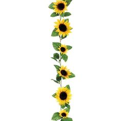 """6' Long silk sunflower garland in yellow. 11 sunflowers per garland measuring from 3-5"""" in diameter each. The perfect way to accent your summer wedding or autum"""