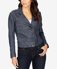 Give your ensemble edgy appeal when you zip into this super-chic leather jacket from Lucky Brand. | Lamb leather/cotton/polyester | Professional leather clean | Imported | Point collar | Asymmetrical