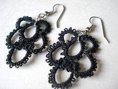 Hand-tatted Black Lace Earrings by Fibers Studio on Etsy, $20.00