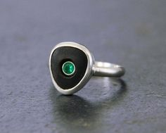 River Stone and Emerald Ring Sterling Silver by TorchfireStudio, $156.00