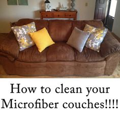 How to clean your microfiber couch using natural ingredients (water, baking soda, Germ Fighter EO and a scrub brush. I can't wait to try this!