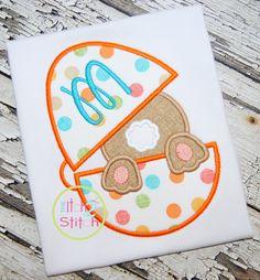 I2S Bunny Easter Egg Applique Design