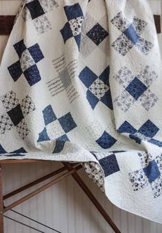 Blue And White Quilts Handmade Navy Blue And White Quilt Covers Love The Fabric Cotton Berry Quilts Blue And White Patchwork Quilt Patterns Antique Quilts, Vintage Quilts, Red And White Quilts, Blue And White, Navy Blue, Plus Quilt, Quilt Top, Two Color Quilts, Baby Boy Quilts