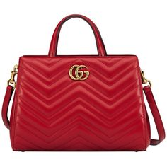 Gucci Gg Marmont Matelassé Top Handle Bag ($1,890) ❤ liked on Polyvore featuring bags, handbags, red, real leather handbags, top handle handbags, real leather purses, red handbags and top handle bags