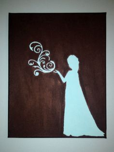13x9 Disney Queen Elsa Silhouette Canvas by GoingChic on Etsy, $15.00