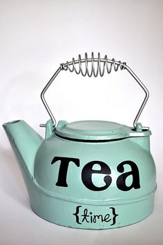 "cute idea, to paint an old kettle out colours and write ""Hunter and Jessie"" or our date on it. It's vintage!"