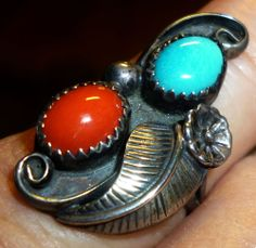 RARE New Old Stock - Never Worn! 1960s Red Branch Coral Blue Turquoise Gems Sterling Navajo Ring Sz 5 Petite and feminine! Only $64.95, great value!