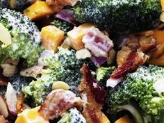Creamy Broccoli Cheddar Bacon Salad A delicious broccoli salad full of bacon, cheddar, and almonds. The creamy dressing on top is sweet and tangy and AMAZING! Creamy Broccoli Cheddar SCreamy Cheddar Pasta SalaThis Creamy Cheddar and D Broccoli Salad Bacon, Bacon Salad, Broccoli Cheddar, Broccoli Recipes, Salad Recipes, Cheddar Cheese, Banting Recipes, Banting Diet, Lard