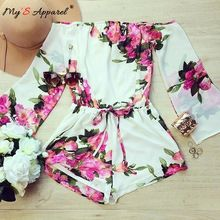 2016 Fashion macaquinho Jumpsuit Women Sexy Long Sleeve Playsuit Bodysuit Flower Floral Print Jumpsuits overalls for women(China (Mainland))