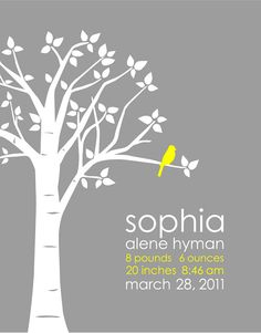 yellow and gray nursery Personalized Custom Baby Name/Birthdate Love Bird by karimachal, $30.00