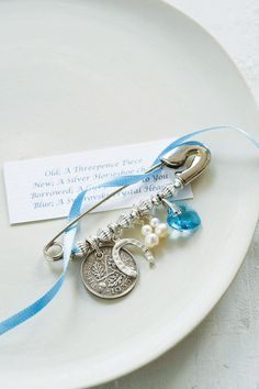 "Cute Bridal Charm Idea to get all the ""old, new, borrowed & blue"" in one!  @Notonthehighstreet.com"