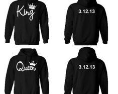 Couple King Queen Hoodie Casual Matching Sweatshirts Fleece Tops Lover Gift AB