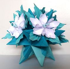 3d Origami Kusudama Tornillo With Flowers Table Decoration