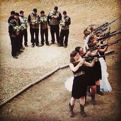 Country camo wedding with guns! i WILL do this at my wedding lol Cute Wedding Ideas, Wedding Pictures, Perfect Wedding, Wedding Engagement, Our Wedding, Dream Wedding, Wedding Stuff, Trendy Wedding, Country Engagement