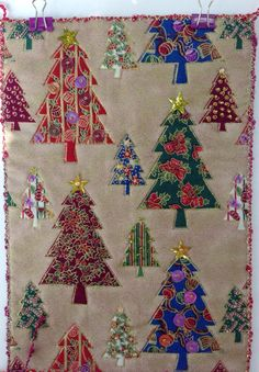 Christmas Mini Quilt Fiber Art Christmas Trees by StitchesnQuilts