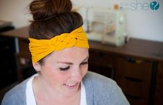 Brilliant, she uses old tights to make a  headband. Going to clean out my sock drawer right now!!
