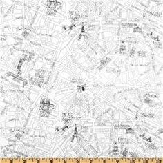 Timeless Treasures Letters From Paris Paris Map Cream More Paris - Paris map fabric