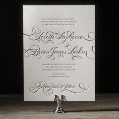 Loretta Formal is a vision, dressed in traditional letterpress glamor with pretty hand calligraphy accents. These letterpress wedding invitations inspire dreams of a formal wedding with an impossibly romantic aura.
