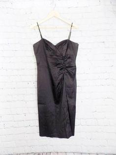 497309bb3e8 Donna Ricco Black Satin Spaghetti Strap Sheath Cocktail Dress Size 10   fashion  clothing  shoes  accessories  womensclothing  dresses (ebay link)