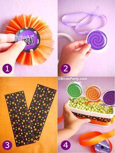 Bird's Party Blog: DIY Halloween Candy and Lollipop Centerpiece using printables