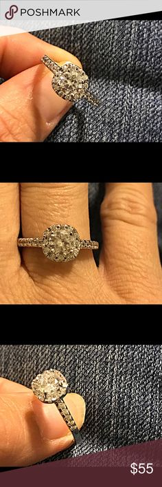 WGP white CZ engagement/ promise ring Stunning!!! White gold plated white CZ engagement/ promise ring size 9 Jewelry Rings