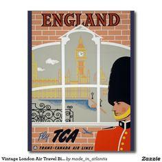 Vintage London Air Travel Big Ben Parliament