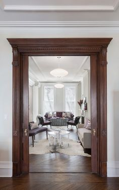 Brownstone Transformed More Decorating with Wood trim work Decor, Brownstone Interiors, House Design, Door Design, Interior Design, Home Decor, House Interior, Trendy Home, Doors Interior