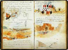 Taccuino di Eugene Delacroix. Nei suoi viaggi in Oriente,egli prese ispirazione da ciò che vedeva,tenendo numerosi diari con appunti e schizzi,che utilizzò successivamente per alcuni dipinti.