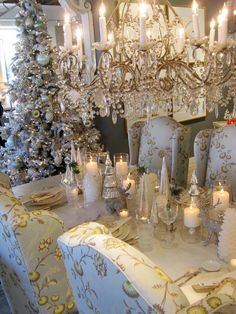 Crystals sparkle and candles glow in a vintage Christmas tablescape.