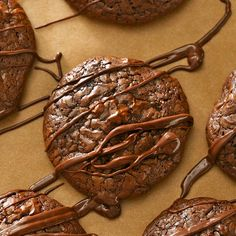 Warning: Chocolate coma may occur when consuming these triple-chocolate cookies. Not only do we bake them with rich dark chocolate, but we also dress them up with a warm chocolate drizzle.