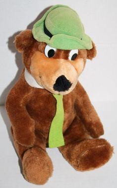 "Hanna Barbera plush Yogi Bear 12"" 1980 Mighty Star FLAW stuffed animal green hat #YogiBear"