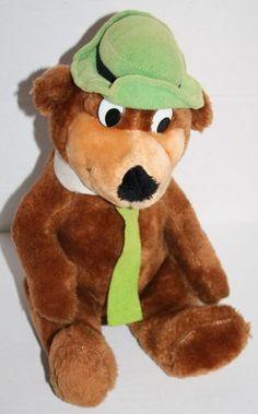 "Hanna Barbera plush Yogi Bear 12"" 1980 Mighty Star FLAW stuffed animal green hat"
