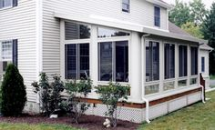 sunroom ideas on a budget | Marquee style Patio Enclosures feature a roof design that slopes from ...