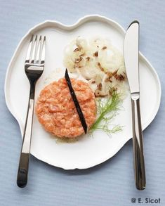 Salmon Tartare, Fish And Meat, Valentines Day Food, Fish Dishes, Risotto, Mashed Potatoes, Good Food, Meals, Cooking