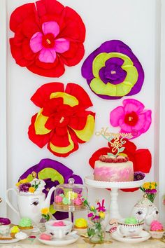 Gorgeous Floral Birthday Party. This beautiful party has so many handmade DIY details celebrating a 2 year old little girl's birthday. Who doesn't love a tea party?!
