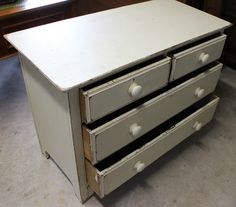 Superb set of Victorian Pine Chest of Drawers. Painted off-white Shabby Chic style. Size is 42 inches in length x 20 inches deep x 32 inches in height. Four drawers in total, two half length at the top, two full length below.
