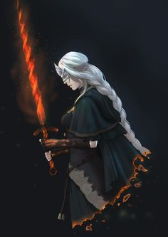 Safebooru - absurdres artist request black background breasts burning capelet dark souls iii fire keeper from software highres long hair souls (from software) sword weapon white hair | 1857527