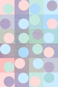 pastel circles in squares Art Print