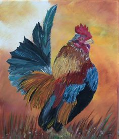 original oilpainting rooster on canvas by Blumenmalerei on Etsy, €25.00
