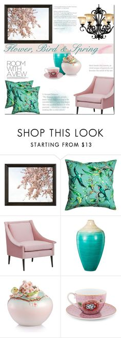 """flower, bird and spring"" by lnchome ❤ liked on Polyvore featuring interior, interiors, interior design, home, home decor, interior decorating, Pottery Barn, Franz Collection and PiP Studio"
