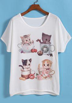 Camiseta gato manga corta-Sheinside